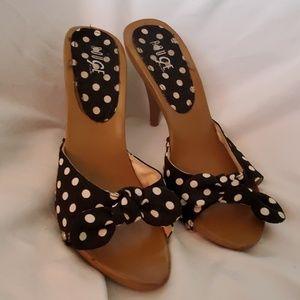 Fun polka dot black and white heels